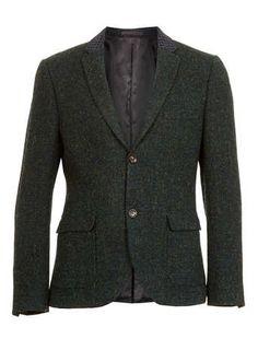 Harris Tweed Green Contrast Blazer - Harris Tweed   - Suits