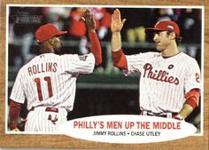 2011 Topps Heritage Baseball Card 72 Jimmy Rollins  Chase Utley  Philadelphia Phillies Men Up the Middle MLB Trading Card ** Click image to review more details. (Note:Amazon affiliate link)