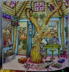 The tree house ( or tree in a house!) in #romanticcountry #romanticcountry2  book by #eriy @eriy06 using #prismacolorpremier . #coloringbookforadults #adultcoloringbook  #coloringmasterpiece  #bayan_boyan #artecomoterapia #arte_e_colorir