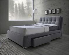 "GREY STORAGE BED WITH CONTEMPORARY PROFILE. PILLOW TOP HEADBOARD WITH BISCUIT TUFTING. NO BOX SPRING REQUIRED. QUEEN SIZE: 71.25"" W X 94.50"" D X 38.75"" H EASTERN KING: 87.50"" W X 94.50"" D X 38.75"" H C"