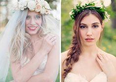 Bridal Floral Crown Hairstyles  #bridalhairstyles #weddinghairstyles