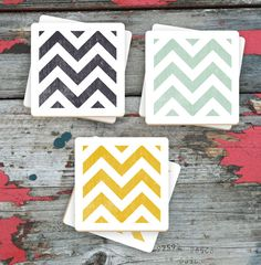 Items similar to Colorful Chevron Drink Coasters - Hand Printed Bar Coasters - Set of 6 - Two of Each Color on Etsy Plastic Canvas Crafts, Plastic Canvas Patterns, Beer Tasting Parties, Bar Coasters, Home Bar Decor, Distressed Texture, Beer Gifts, Tile Patterns, Screen Printing