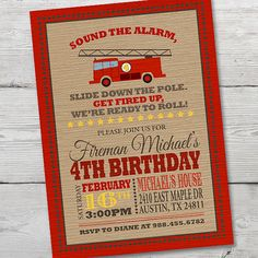 Firetruck Birthday Invitation, PRINTABLE Firetruck Invitation, Firetruck Birthday, Fireman Invitation, Firetruck Invite, ID: BD125910