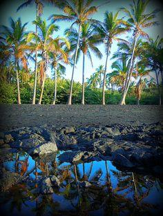 Punaluu Black Sand Beach, The Big Island, Hawaii.