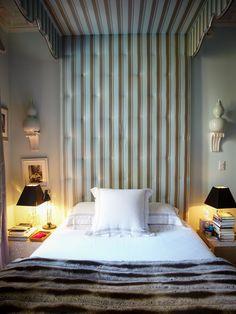 cool blue bedroom of Miles Redd