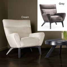 @Overstock.com   A Stylish Retro Design Highlights This Plush Chenille  Armchair. This