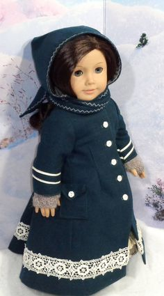 Late 1800s Teal Wool Coat with Dress Outfit for Historic 18