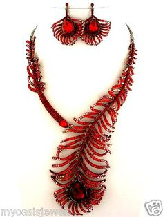 Rhinestone Choker Necklace Earring Set Austrian Crystal Red Peacock Feather