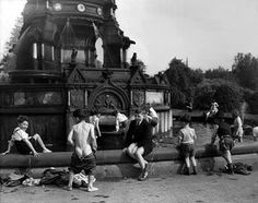 Glasgow Boys in Fountain by Harry Benson, 1956