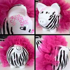 Ceramic Piggy Bank - custom personalized to fit every room decor or childs personal style via Etsy Más This Little Piggy, Little Babies, Zebra Baby Showers, Personalized Piggy Bank, Auction Projects, Miss Piggy, Best Birthday Gifts, Cute Kids, Diy Gifts