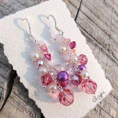 Pink Cluster, Swarovski Crystallized Elements Sterling silver earrings