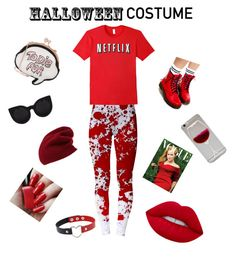 """""""Netflix or die ❤️❤️"""" by emkg03 ❤ liked on Polyvore featuring Halogen, Sophia Webster, Dr. Martens, Lime Crime, halloweencostume and DIYHalloween"""