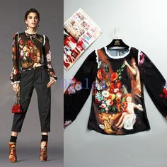 63aa957765a80 2019 Womens Fall Fashion Floral Silk Shirt Top Coat Puff Ninth Sleeve Blouse  New Coats For