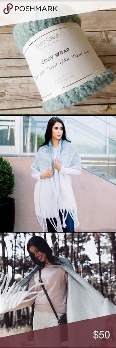 Mer Sea - teal ombré wrap scarf As the weather gets colder, do you find yourself putting on more layers? This will help with the gloom of winter approaching! This is one of the coziest scarves and is super soft. Great for a gift or for yourself! Accessories Scarves & Wraps