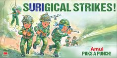 View Amul Surgical Strikes Paks A Punch Advertisement newspaper. This Ad is collection of Sample Ad at Advert Gallery. Advertising, Ads, Punch, Nostalgia, Baseball Cards, Gallery, Creative, India, Humor