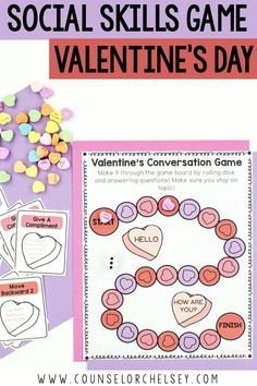 Social Skills Game And Posters Valentine's Themed Social Skills Game And Posters Valentine's Themed,Friendship Skills Use this social skills game to add Valentine's day fun as you work on conversation skills with your elementary. Social Skills Lessons, Social Skills Activities, Teaching Social Skills, Counseling Activities, Social Emotional Learning, Coping Skills, School Counseling, Life Skills, Elementary Counseling