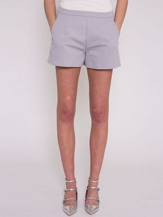 Flora Pale Grey Structured Shorts with Pocket Detail