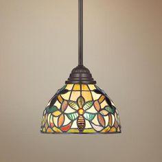 Quoizel Kami Tiffany Style Mini Pendant Light | LampsPlus.com