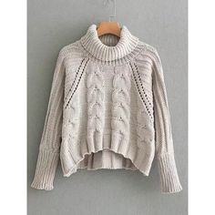 Sweater with turtleneck, cable pattern and openwork pattern .- Pullover mit Rollkragen, Zopfmuster und Durchbruchmuster- German romwe Sweater with turtleneck, cable pattern and openwork pattern – German romwe - Cable Knit Sweaters, Pullover Sweaters, Long Sleeve Sweater, Long Sleeve Tops, Cropped Sweater, Turtleneck Top, Pull Torsadé, Sweater Weather, Pulls