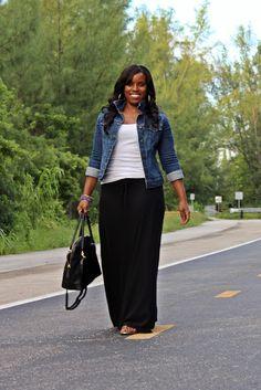 Great modest fall fashion. Black maxi skirt and denim jacket.