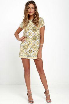 Make a fierce fashion statement in the Dandy Lion Yellow Print Shift Dress!  Short sleeves 33a623e560c8