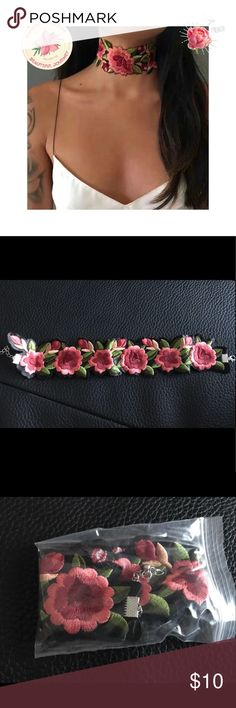 💥New Item-New embroidery rose flower choker New embroidery rose flower choker.  Embroidered fabric Crocker with snake chan and clasp.  Crocker is New and will come individually packed for you. Jewelry Necklaces