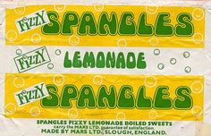 Fizzy Lemonade Spangles made by Mars Ltd, Slough, England