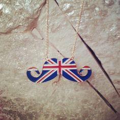 british mustache necklace