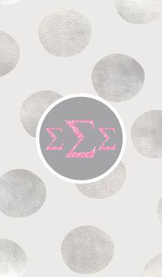 Sigma Sigma Sigma silver and polka dots. iPhone monogram background.