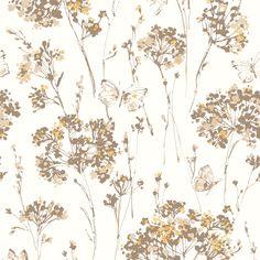 Muriva Floral Wallpaper Butterfly Meadow Mustard