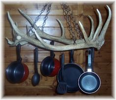 Antler pot rack haha My hubby has tried to get his antlers into the house for years. I'm not commiting though! Deer Antler Crafts, Antler Art, Deer Antler Chandelier, Hunting Crafts, Elk Antlers, Elk Horns, Western Decor, Rustic Decor, Rustic Wood