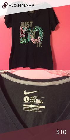 Black short sleeve Nike shirt Black v-neck Nike shirt size large. In perfect condition! Willing to negotiate price! Let me know if you have any questions :) Nike Tops Tees - Short Sleeve