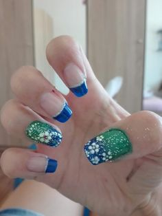 Blue French Manicure Green White Dots Flowers Nail Art