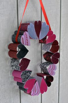 "Valentine's DIY: ""Stained Glass"" Sun Catchers & Paper Heart Wreath via My Baking Addiction blog"