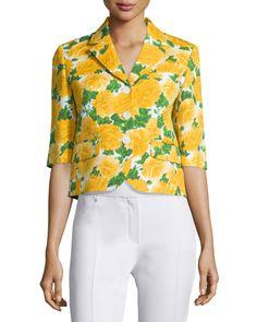 MICHAEL KORS Floral-Print Schoolboy Blazer, White/Daffodil. #michaelkors #cloth #blazer