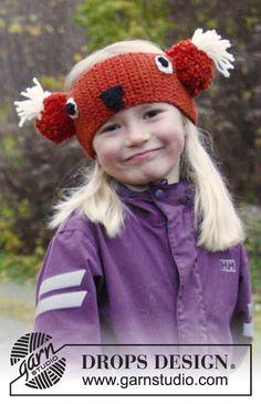 """Fita de cabelo raposa DROPS em croché, em """"Nepal"""". Dos 3 aos 12 anos. ~ DROPS Design"""