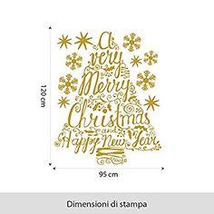 NT0228 Adesivi Murali - Albero Merry Christmas - Vetrofanie natalizie - 95x120 cm - oro - Decorazioni vetrine per Natale, stickers, adesivi