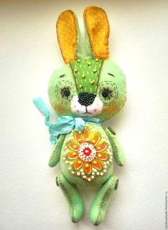 Купить Зайка, интерьерная игрушка, зеленый, мятный, зайчик - брусничный, лиловый, мятный, белый