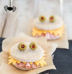 Make these spooky ham and cheese sandwiches for lunch.