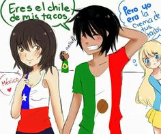 😍 Argentina can go be with Brazil, they're also my other OTP Translation: Mexico: You are the chili of my tacos Argentina: But I was the cream of your tacos I own nothing Hetalia, Stupid Memes, Hilarious, Funny, Death Note, Country, Anime Love, Chile, Wattpad