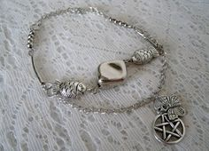 Earth Spirit Pentacle Anklet wiccan jewelry pagan by Sheekydoodle, $20.00