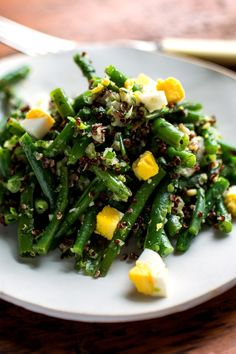 This is a green bean salad with quinoa as opposed to a quinoa salad with green beans. Red quinoa is secondary to the green beans here. The two ingredients provide a colorful contrast. (Photo: Andrew Scrivani for The New York Times)