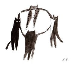 Black Cat- Can't we all just learn to live together- Cat Art. jamieshelman via Etsy.