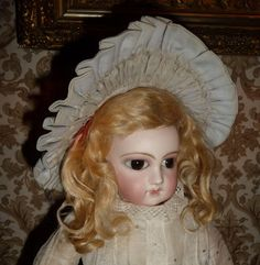 Charming blue wired wide brim doll hat or bonnet