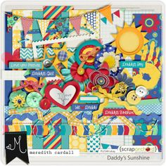 """June 2014: Daddy's Sunshine {Mere} only $2.00 for a limited time - this is Meredith Cardall's portion of the June 2014 Fruit of the Month Collection!  Buy now and save 50% - BUY ALL OF THE COLLECTIONS AND YOU'LL RECEIVE A FREE GIFT! This is what replaces the previous """"Monthly Mega Kits"""" at Scrap Orchard!  It's a fun way to buy, because you have so many choices! #digitalscrapbooking #june2014fruitofthemonth #fruitofthemonth #scraporchard @mcardall"""