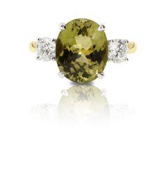 Olive green Tourmaline & diamond ring Coloured Stone Rings, Green Tourmaline, Gemstone Colors, Olive Green, Wedding Rings, Jewels, Engagement Rings, Gemstones, Diamond