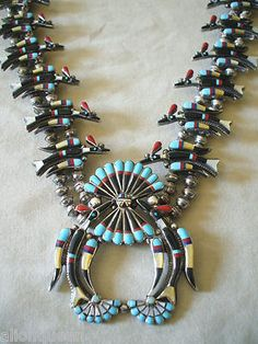 ZUNI Channel Inlay PEYOTE Water Bird SQUASH BLOSSOM NECKLACE Sterling Silver