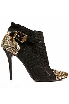 #Balmain black and gold high heel ankle lizard booties (boots) with buckle