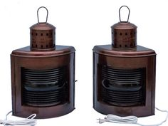 Antique Copper Port and Starboard Electric Lamp 21