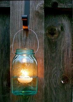Mason jar lanterns with floating candles. Bottles And Jars, Canning Jars, Mason Jar Lamp, Glass Jars, Mason Jar Projects, Mason Jar Crafts, Deco Champetre, Floating Candles, Jar Candles